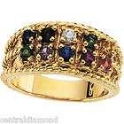 MOTHERS JEWELRY Custom 10K Gold Ring w/ 10 Birthstones