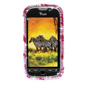 For HTC MYTOUCH 4G FULL DIAMOND CASE Hot Pink Zebra Pattern Bling