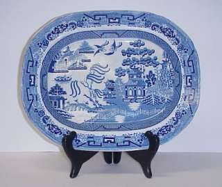 ANTIQUE IRONSTONE BLUE WILLOW PLATTER OPAQUE WARRANTED CHINA 1800S