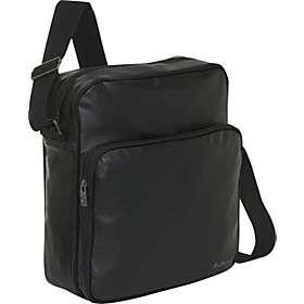 Black Leather Travel Business Flight Messenger Bag 709390114594