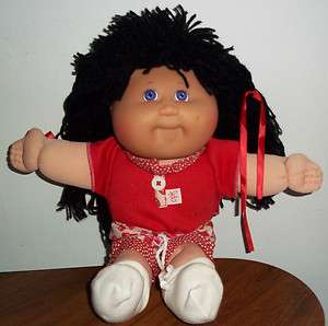 Cabbage Patch Kid Girl Doll with Black Hair and Red Outfit VERY GOOD