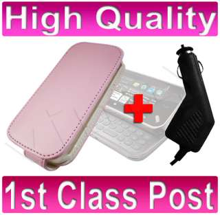 PINK LEATHER FLIP CASE+ CAR CHARGER FOR NOKIA N97 MINI