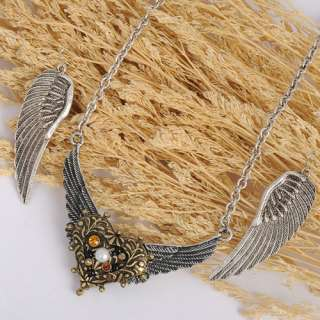 ANGEL WINGS PEARL CRYSTAL EARRINGS NECKLACE PENDANT CHAIN SETS