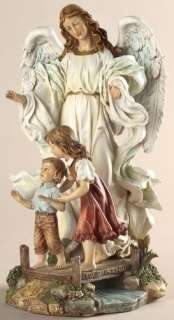 10CLASSIC GUARDIAN ANGEL Children on Bridge Statue New