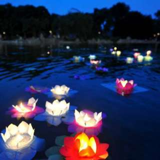 COLOR FLOWER lotus chinese lanterns wishing floating water light