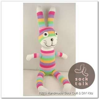 Handmade Colorized Striped Sock Monkey Rabbit Stuffed Animals Baby Toy
