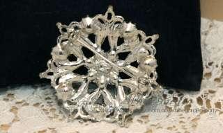 Crystal Rhinestone Bridal Floral Rose Cake Brooch Pin