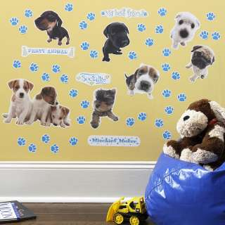 THE DOG 50 BiG Wall Stickers KiDs Puppy Room Decor Decals BLUE PAW