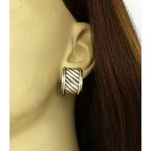 Sterling Silver & 14K Gold Ladies Earrings David Yurman Jewelry