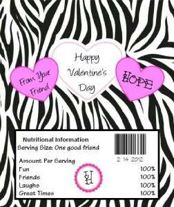 Striped Valentines Day Hershey Candy Bars Wrappers Favors Bar