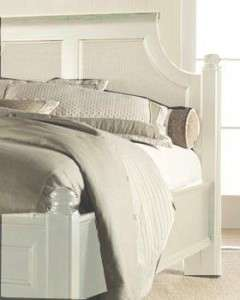 Thomasville Furniture Felicity Day spa white King cane / Panel Bed
