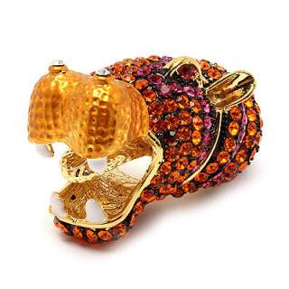 Crystal Rhinestone Gold Orange Stretch Adjustable Animal Ring