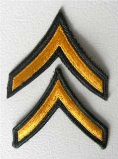 New unissued set of U.S. Army Private Chevron rank shoulder patches