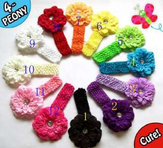 Girls Baby Lady Flower Hairbow Clip Crochet Headbands Hair Bow