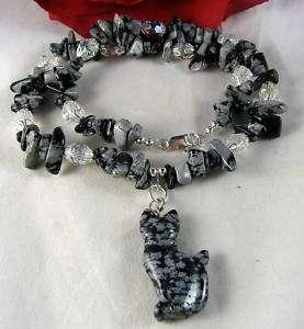 Artisan Snowflake Jasper Cat Necklace CAT RESCUE