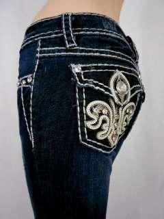 LA Idol Jeans Crystal Fleur De Lis Leather Bold Stitching Bootcut
