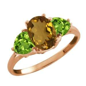 Ct Oval Whiskey Quartz and Green Peridot 18k Rose Gold Ring Jewelry