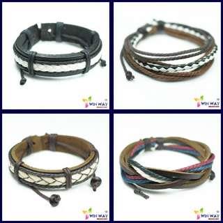 New 4 pcs Set Hemp Surfer Tribal Cuff Leather Bracelet