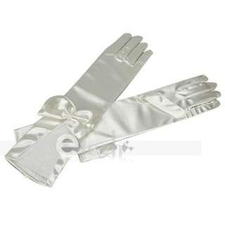 Beige Elegant Satin Bowknot Wedding Bridal Long Gloves
