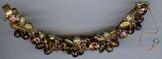 VINTAGE WILD LEOPARD GOLD ART GLASS & RHINESTONE DANGLE BEADS BRACELET