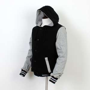 Hoodie Varsity Letterman College Baseball Jacket BLACK & GREY