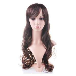Brown Curly Long Hair Wig Human Health: Health & Personal Care