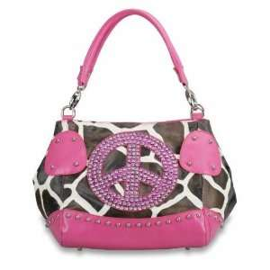 Handbag Purses Rhinestone Peace Sign Animal Giraffe Print Tote Hobo