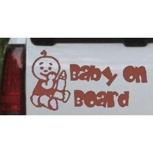 Baby On Board (Boy) Car Window Wall Laptop Decal Sticker    Brown 20in