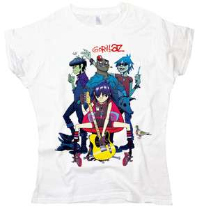 New Gorillaz band rap hip hop rock ladies woman white t shirt