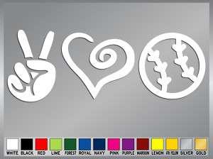 PEACE LOVE BASEBALL SOFTBALL cut vinyl decal sticker #2