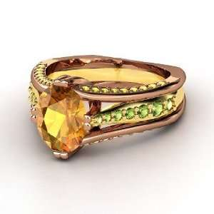 18K Rose Gold Ring with Green Tourmaline & Yellow Sapphire Jewelry