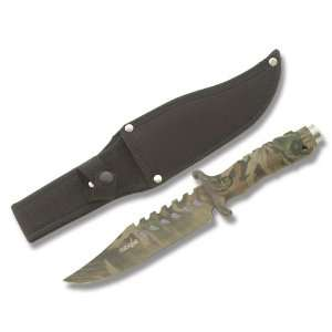 Full Camo Fixed Blade Hunting Skinning Knife Sports & Outdoors